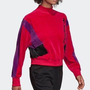 Adidas velour pink sweatshirt sz M